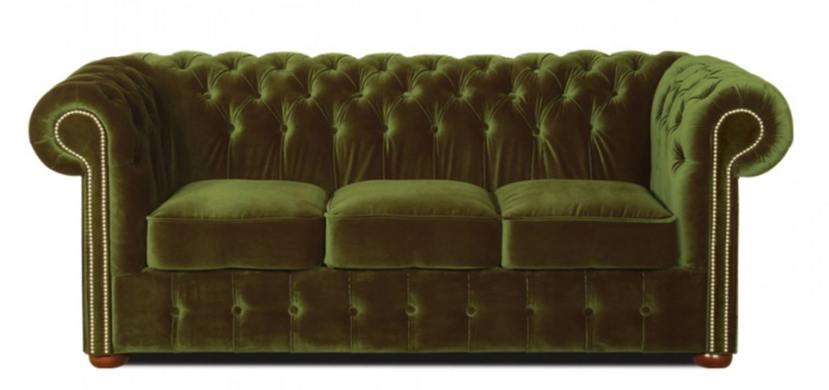 Casa Padrino Chesterfield 3 Seater Sofa Dark Green 200 X 90 X H 78 Cm Luxury Quality