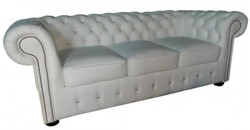 Casa Padrino Chesterfield genuine leather 3 seater sofa in white with glittering stones 200 x 90 x H. 78 cm - Luxury Furniture