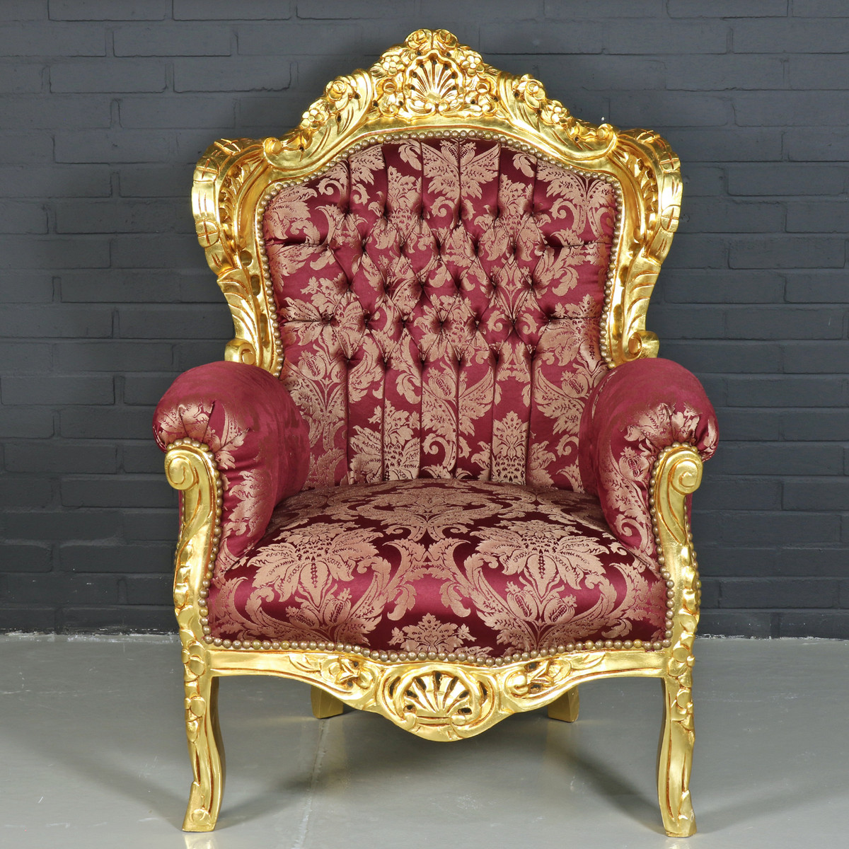 Casa padrino baroque armchair king bordeaux red pattern for Sessel barock