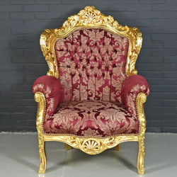 "Casa Padrino Baroque Armchair ""King"" Bordeaux Red Pattern / Gold - Antique Style Furniture"