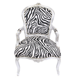 Casa Padrino Baroque Salon Chair Zebra / Silver with Armrests - Baroque Furniture