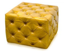 Casa Padrino Luxury Genuine Leather Footstool Vintage Yellow 64 x 64 x H. 46 cm - Chesterfield Furniture