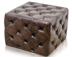 Casa Padrino Luxury Genuine Leather Footstool Gunmetal 64 x 64 x H. 46 cm - Chesterfield Furniture