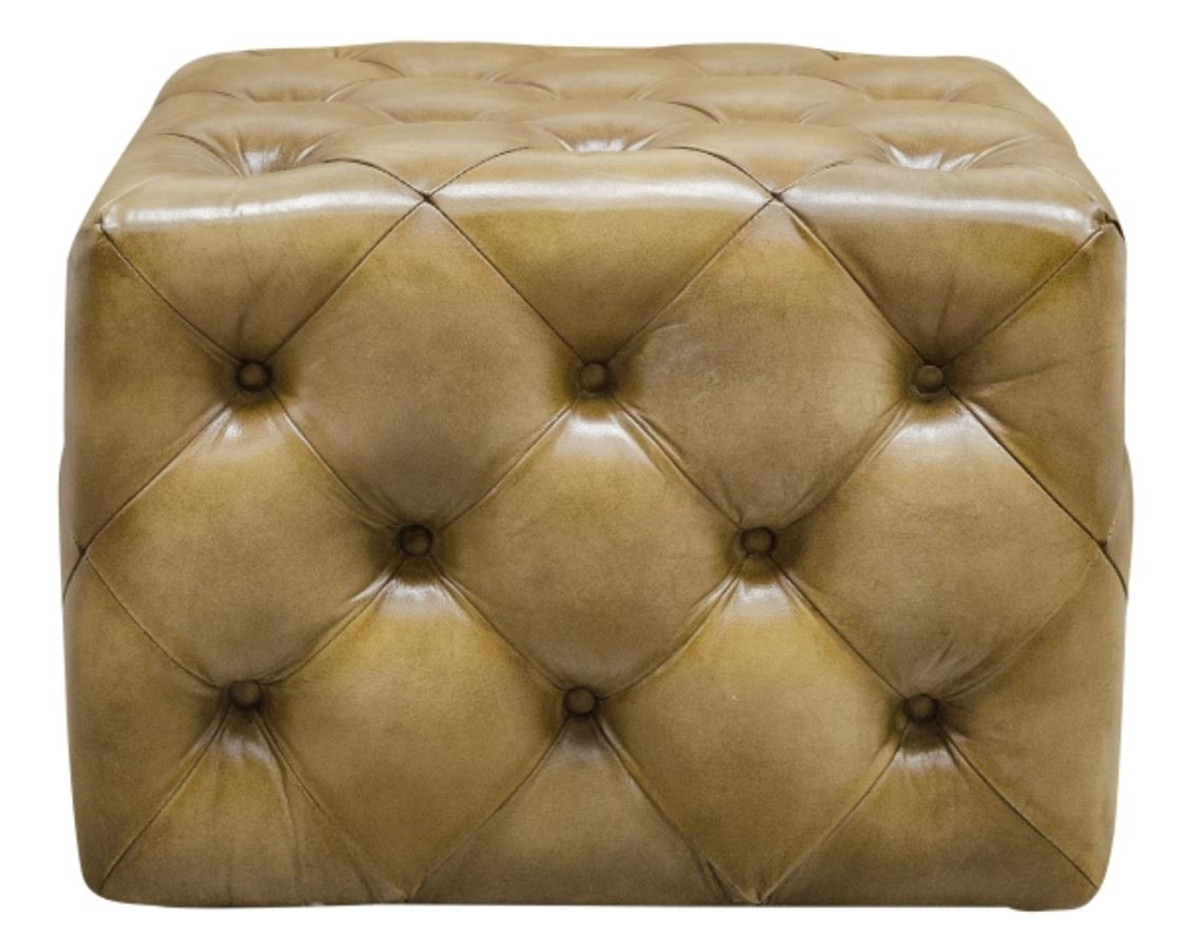 Casa Padrino Luxus Echtleder Fußhocker Sandfarben 64 x 64 x H. 46 cm - Chesterfield Möbel 3