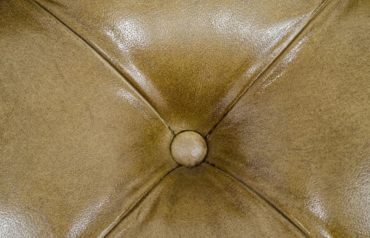 Casa Padrino Luxus Echtleder Fußhocker Sandfarben 64 x 64 x H. 46 cm - Chesterfield Möbel 5