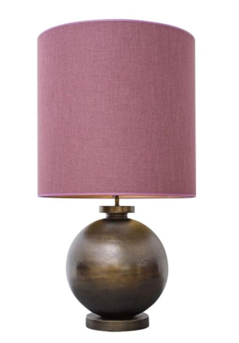 casa padrino luxus tischleuchte in antik bronze mit altrosafarbenem lampenschirm 50 x h 93 cm. Black Bedroom Furniture Sets. Home Design Ideas