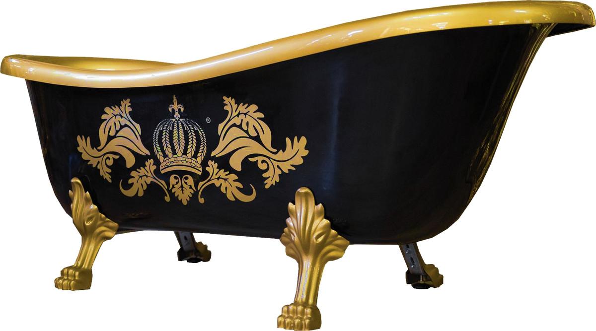 Pompöös by Casa Padrino Luxus Badewanne Deluxe freistehend von Harald Glööckler Schwarz / Gold / Schwarz 1470mm mit goldfarbenen Löwenfüssen 1