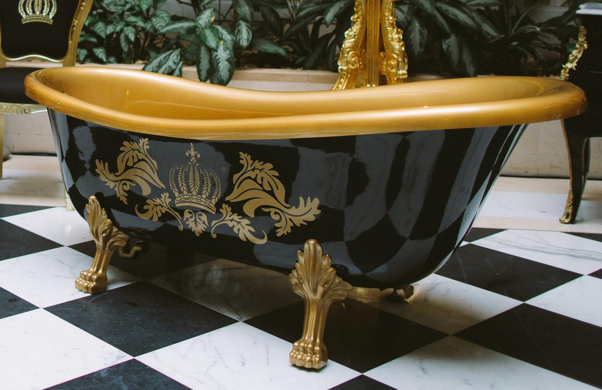Pompöös by Casa Padrino Luxus Badewanne Deluxe freistehend von Harald Glööckler Schwarz / Gold / Schwarz 1470mm mit goldfarbenen Löwenfüssen 2
