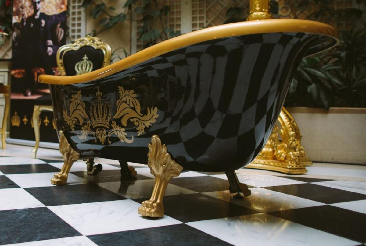 Pompöös by Casa Padrino Luxus Badewanne Deluxe freistehend von Harald Glööckler Schwarz / Gold / Schwarz 1470mm mit goldfarbenen Löwenfüssen 4
