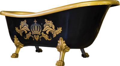 Pompöös by Casa Padrino Luxus Badewanne Deluxe freistehend von Harald Glööckler Schwarz / Gold / Schwarz 1470mm mit goldfarbenen Löwenfüssen