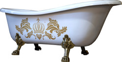 Pompöös by Casa Padrino luxury bath deluxe freestanding by Harald Glööckler white / gold / white 1695mm with golden lion feets