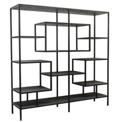 Casa Padrino Designer Shelf Cabinet Black 160 x 40 x H. 160 cm - Luxury Living Room Cabinet