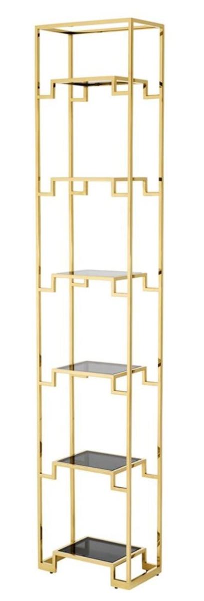 Casa Padrino Wohnzimmer Regalschrank Gold / Schwarz 45,5 x 25,5 x H. 221 cm - Luxus Wohnzimmerschrank 1