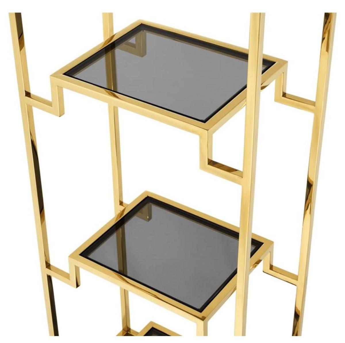Casa Padrino Wohnzimmer Regalschrank Gold / Schwarz 45,5 x 25,5 x H. 221 cm - Luxus Wohnzimmerschrank 3