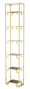 Casa Padrino Wohnzimmer Regalschrank Gold / Schwarz 45,5 x 25,5 x H. 221 cm - Luxus Wohnzimmerschrank