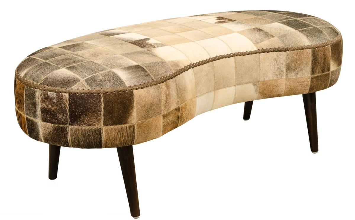 Casa Padrino Luxus Sitzbank mit Kuhfell 130 x 60 x H. 50 cm - Designermöbel 1