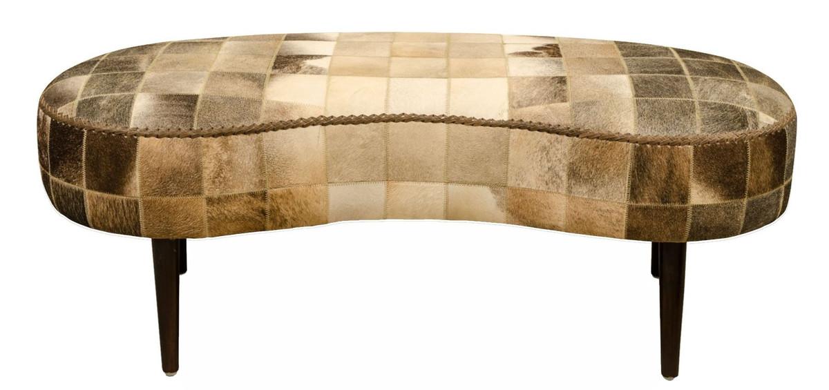 Casa Padrino Luxus Sitzbank mit Kuhfell 130 x 60 x H. 50 cm - Designermöbel 2