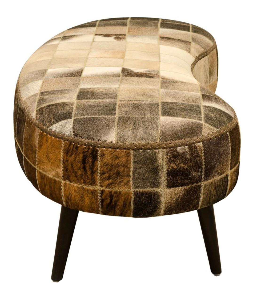 Casa Padrino Luxus Sitzbank mit Kuhfell 130 x 60 x H. 50 cm - Designermöbel 3