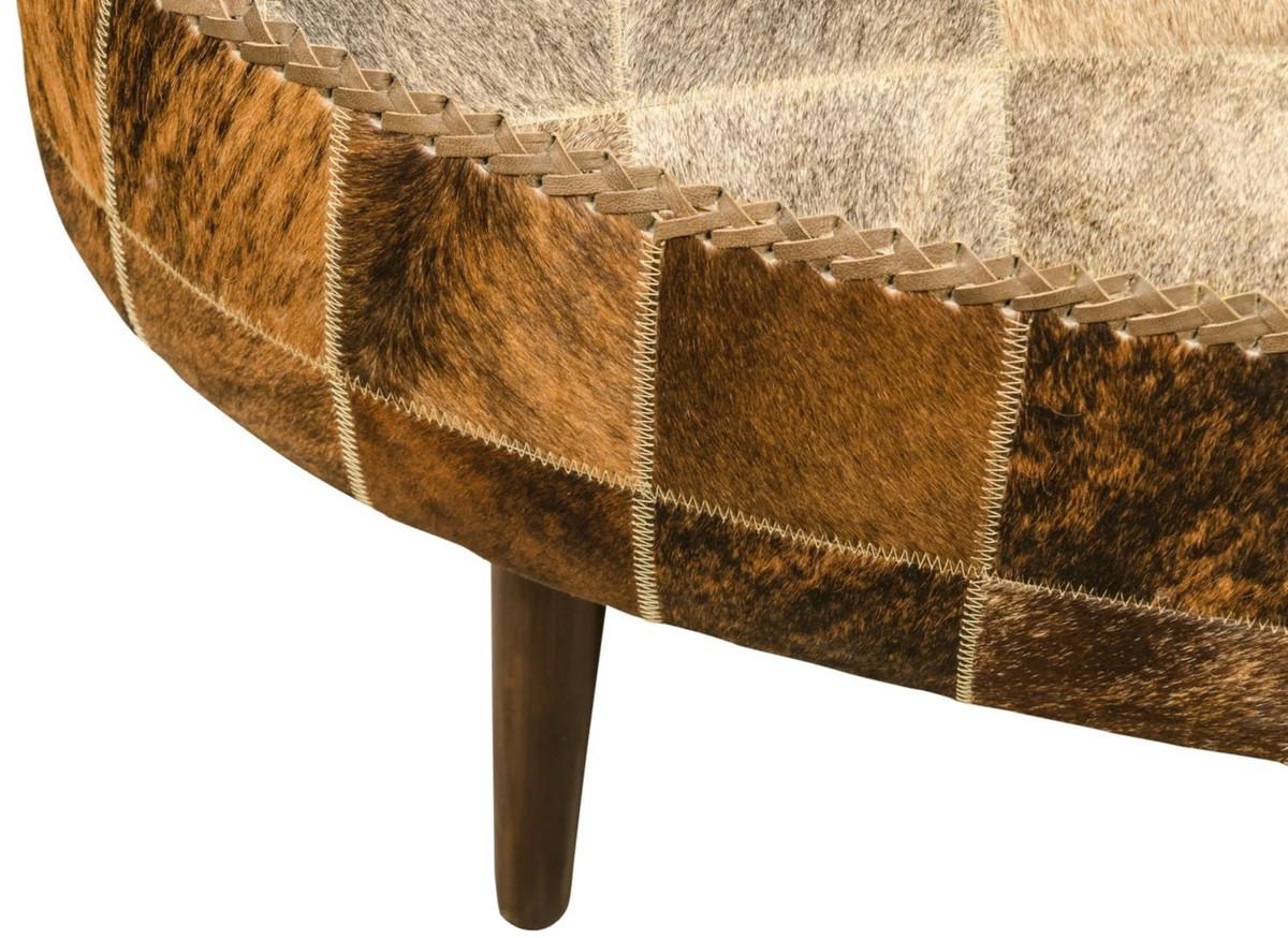Casa Padrino Luxus Sitzbank mit Kuhfell 130 x 60 x H. 50 cm - Designermöbel 5