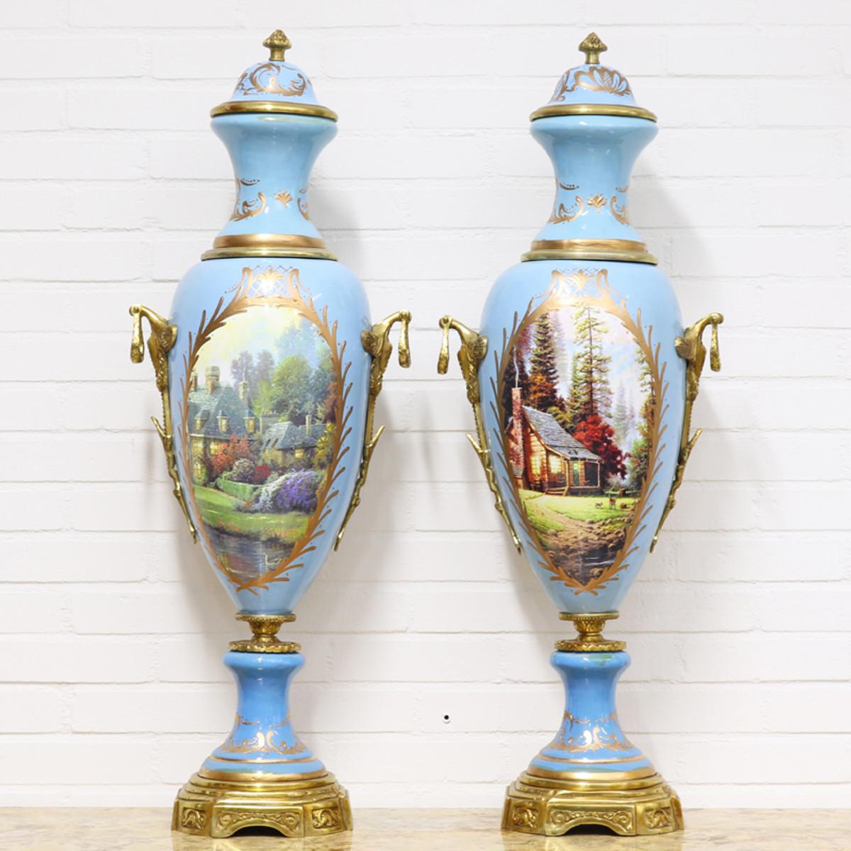 casa padrino deko vasen hellblau gold 30 x h 100 cm barockstil porzellan vasen set. Black Bedroom Furniture Sets. Home Design Ideas