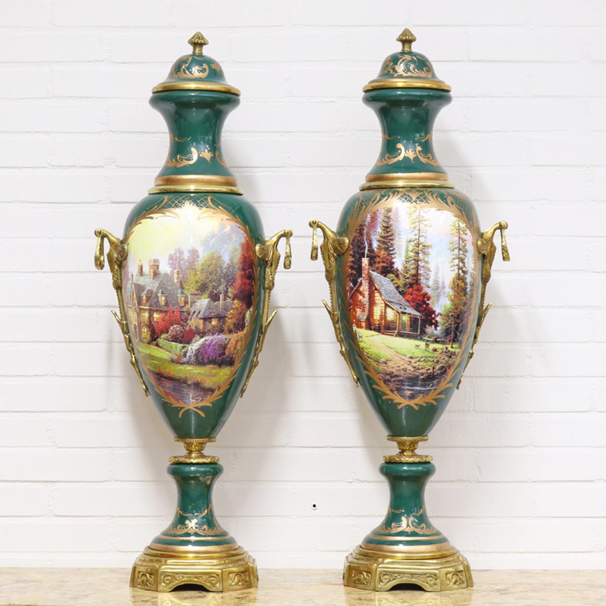 Casa Padrino Deko Vasen Grün / Gold 30 x H. 100 cm - Barockstil Porzellan Vasen Set 1