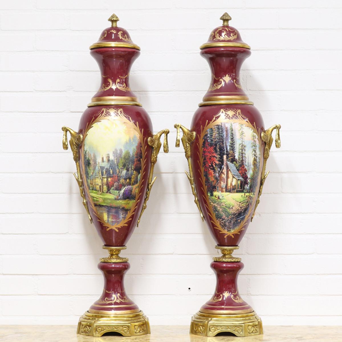 Casa Padrino Deko Vasen Bordeauxrot / Gold 30 x H. 100 cm - Barockstil Porzellan Vasen Set 1