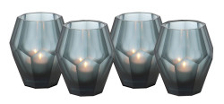 Casa Padrino Tealight Holder Set of 4 Blue 8.5 x H. 10 cm - Luxury Quality