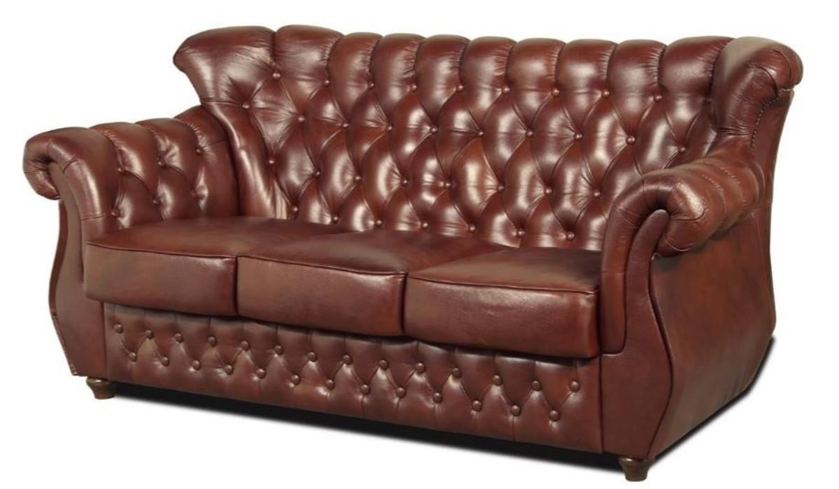 casa padrino chesterfield echtleder 3er sofa in braun mit dunkelbraunen f en 200 x 80 x h 85. Black Bedroom Furniture Sets. Home Design Ideas