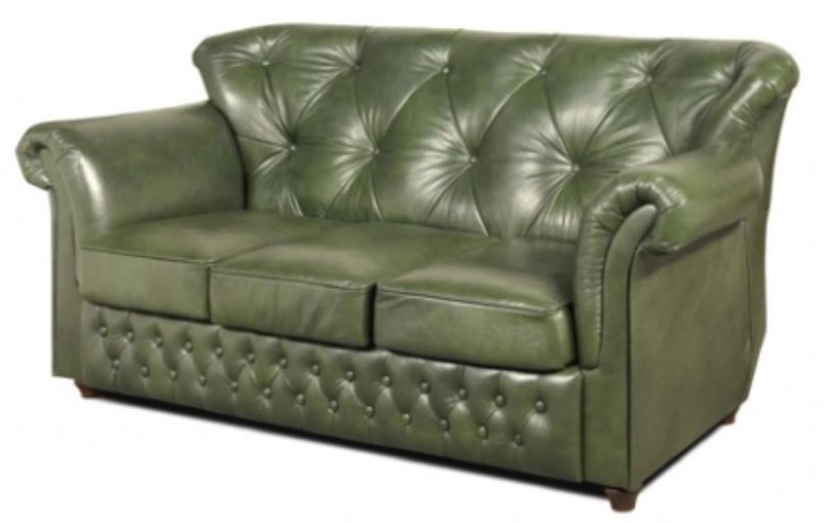 casa padrino chesterfield echtleder 3er sofa in gr n mit dunkelbraunen f en 200 x 80 x h 85 cm. Black Bedroom Furniture Sets. Home Design Ideas