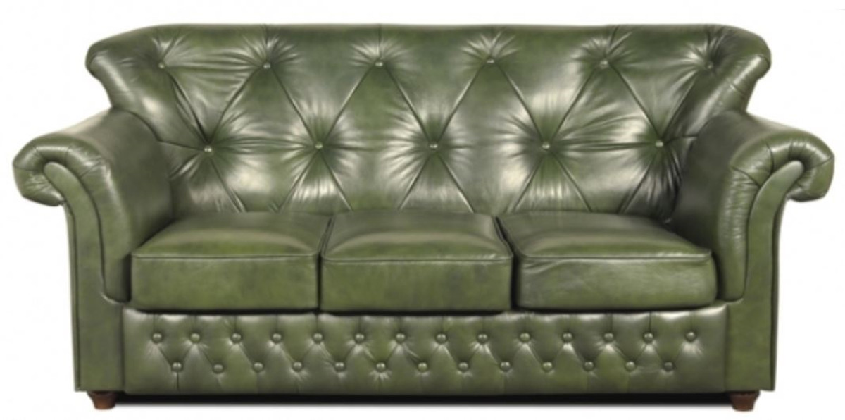 casa padrino chesterfield echtleder 3er sofa in gr n mit. Black Bedroom Furniture Sets. Home Design Ideas