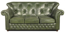 Casa Padrino Chesterfield genuine leather sofa in green with dark brown feet 200 x 80 x H. 85 cm - Luxury Quality