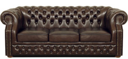 Casa Padrino Luxury Genuine Leather 3 Seater Sofa Dark Brown 210 x 90 x H. 80 cm - Chesterfield Sofa