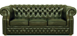 Casa Padrino Luxury Genuine Leather 3 Seater Sofa Dark Green 210 x 90 x H. 80 cm - Chesterfield Sofa