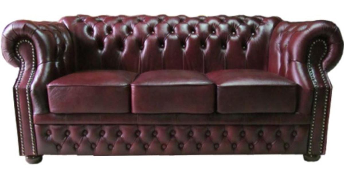 casa padrino luxus echtleder 3er sofa dunkelrot 210 x 90 x h 80 cm chesterfield sofa sofas. Black Bedroom Furniture Sets. Home Design Ideas