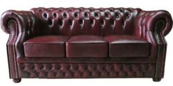 Casa Padrino Luxury Genuine Leather 3 Seater Sofa Dark Red 210 x 90 x H. 80 cm - Chesterfield Sofa