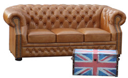 Casa Padrino Luxury Genuine Leather 3 Seater Sofa Light Brown 210 x 90 x H. 80 cm - Chesterfield Sofa