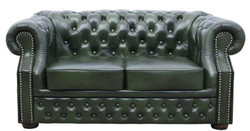 Casa Padrino Luxury Genuine Leather 3 Seater Sofa Dark Green 180 x 90 x H. 80 cm - Chesterfield Furniture