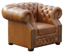 Casa Padrino Genuine Leather Armchair Light Brown 120 x 90 x H. 80 cm - Chesterfield Armchair
