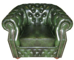 Casa Padrino Genuine Leather Armchair Dark Green 120 x 90 x H. 80 cm - Chesterfield Armchair