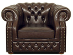 Casa Padrino Genuine Leather Armchair Dark Brown 120 x 90 x H. 80 cm - Chesterfield Armchair