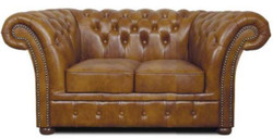 Casa Padrino Chesterfield Sofa 2 Seater Genuine Leather Brown 170 x 90 x H. 80 cm - Luxury Living Room Furniture