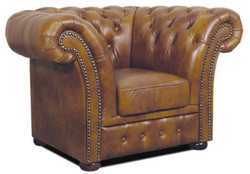 Casa Padrino Chesterfield Genuine Leather Armchair Brown 110 x 90 x H. 80 cm - Luxury Living Room Furniture