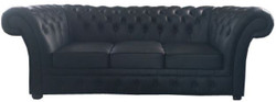 Casa Padrino Luxury Genuine Leather 3 Seater Sofa Black 210 x 90 x H. 80 cm - Chesterfield Furniture