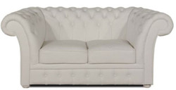 Casa Padrino luxury genuine leather 2 seater sofa white 170 x 90 x H. 80 cm - Chesterfield Furniture