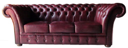 Casa Padrino Luxury Genuine Leather 3 Seater Sofa Dark Red 210 x 90 x H. 80 cm - Chesterfield Furniture