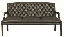 Casa Padrino Chesterfield Genuine Leather 3-Seater Bench with Armrests Black / Dark Brown 180 x 60 x H. 100 cm - Luxury Furniture