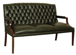 Casa Padrino Chesterfield 3 seater bench with armrests darkgreen / dark brown 180 x 60 x H. 100 cm - Genuine Leather Furniture