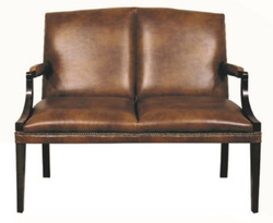 Casa Padrino 2 seater bench with armrests brown / black 120 x 60 x H. 100 cm - Genuine Leather Furniture