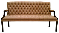 Casa Padrino Chesterfield Genuine Leather 3-Seater Bench with Armrests Light Brown / Black 180 x 60 x H. 100 cm - Luxury Furniture