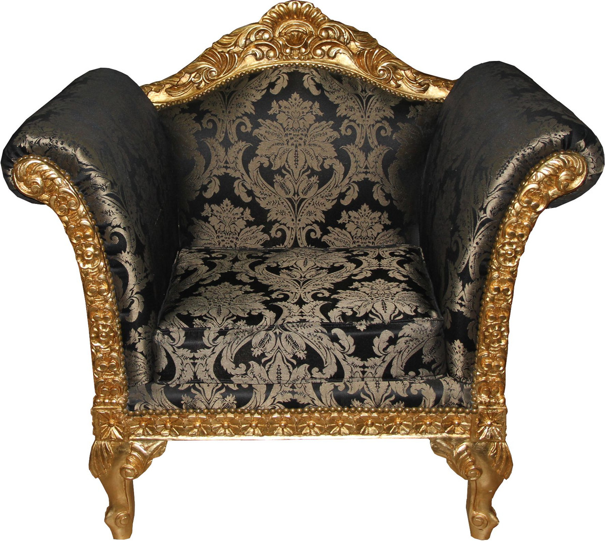 casa padrino barock lounge sessel schwarz muster gold. Black Bedroom Furniture Sets. Home Design Ideas